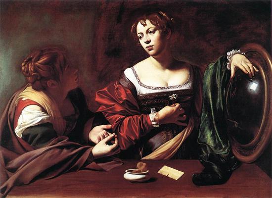 """1598 Меризи да Караваджо """"Марфа и Мария Магдалина."""""""