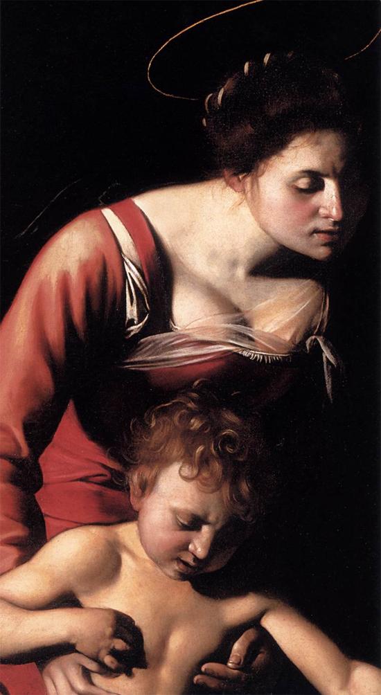 """1606 Меризи да Караваджо """"Мадонна со змеем (фрагмент)."""""""