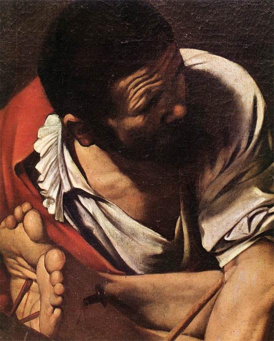 """1600 Меризи да Караваджо """"Распятие святого Петра (фрагмент)."""""""