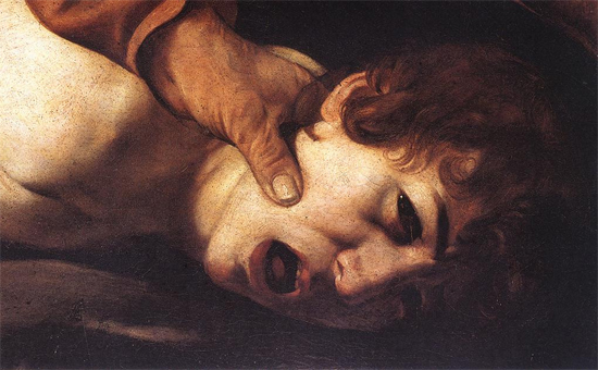 """1601 Меризи да Караваджо """"Жертвоприношение Исаака (фрагмент)."""""""
