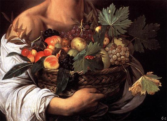 """1593 Меризи да Караваджо """"Мальчик с корзиной фруктов (фрагмент)"""""""
